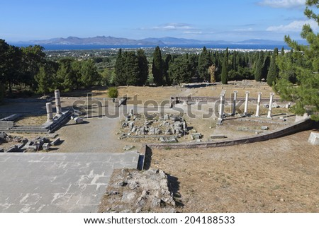 Ancient site of Asclepeion at Kos island in Greece - stock photo