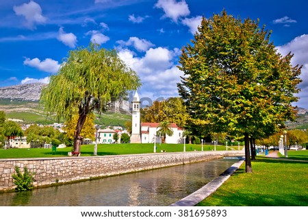 Ancient Solin church and Jadro river view, Dalmatia, Croatia - stock photo