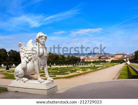 Ancient sphinx statue and Belvedere garden, Vienna, Austria - stock photo