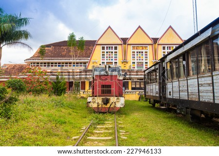Ancient station is famous place, history destination for traveller, with railway, antique train transport tourist to visit in Dalat, Vietnam - stock photo
