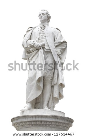 Ancient statue of Johann Wolfgang von Goethe in Berlin, isolated on white, clipping path included - stock photo