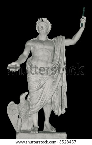 Ancient statue of Julius Caesar, Rome, Italy. Isolated on black - stock photo