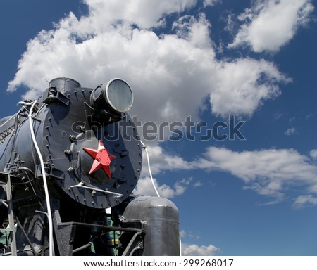 Ancient steam locomotive, Moscow museum of railway in Russia, Rizhsky railway station (Rizhsky vokzal, Riga station)  - stock photo