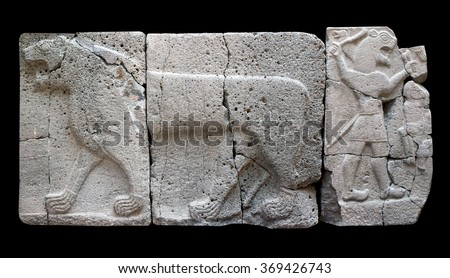 Ancient stone bas-relief with Lion (Aslan) of late Hittite period in the Istanbul Archaeology Museum in Istanbul, Turkey - stock photo