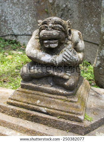 Ancient stone sculpture in the Balinese temple. The island of Bali. Indonesia. - stock photo