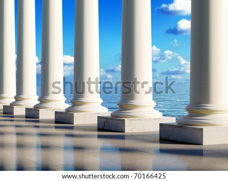 Ancient style columns at sea coast. Realistic 3D illustration. - stock photo