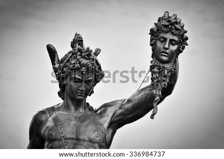 Ancient style sculpture of Perseus with the Head of Medusa in Loggia dei Lanzi in Florence, Italy. Black and white, head close-up - stock photo