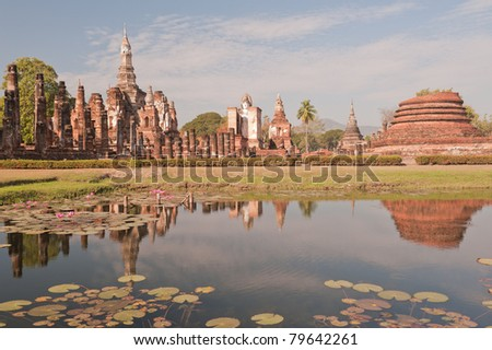 Ancient temple at Sukhothai Historical park in Thailand. - stock photo