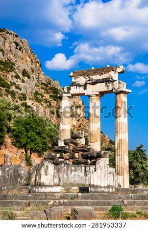 Ancient temple dedicated to Athena near Mount Parnassus, Delphi, Greece - stock photo