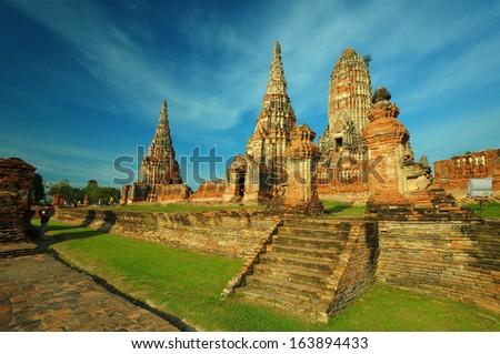 ancient temple in  Ayutthaya,Thailand, Wat Chaiwatthanaram,  - stock photo