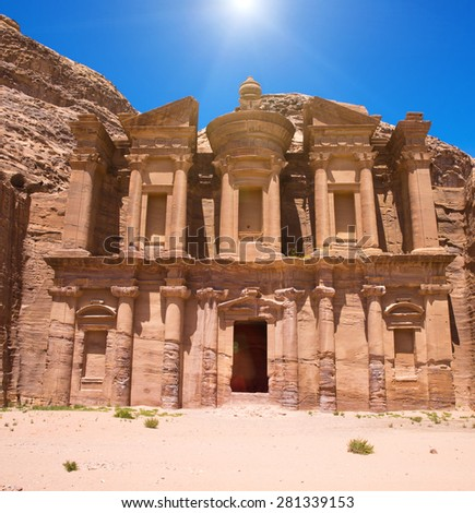 Ancient temple in Petra, Jordan - stock photo