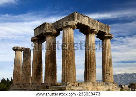 Ancient Temple of Apollo. Corinth, Greece.  - stock photo