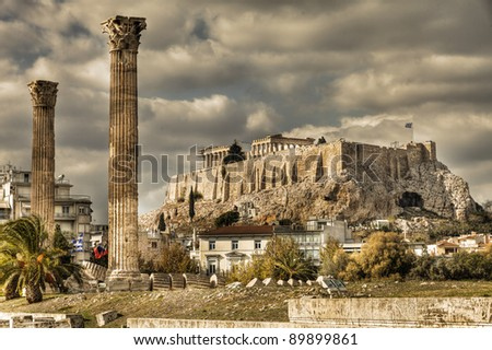 ancient Temple of Olympian Zeus, Athens, Greece - stock photo