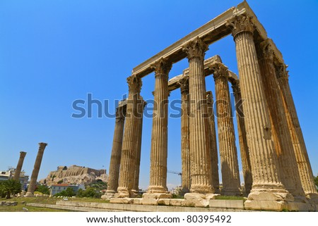 ancient Temple of Olympian Zeus in Athens Greece - stock photo