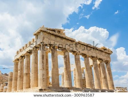 Ancient temple Parthenon on Acropolis, Athens, Greece. - stock photo