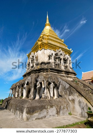 Ancient temple, Wat Chiang Man temple in Chiang Mai, Thailand.  - stock photo