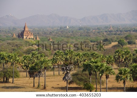 Ancient temples and stupas on the plainsBagan Myanmar (Burma) - stock photo