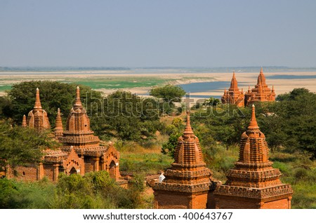 Ancient temples, stupas and pagodas of Bagan (Myanmar) - stock photo