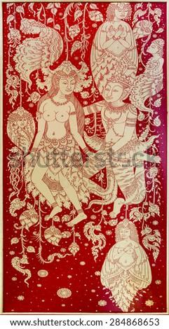 Ancient thai painting on wall at Wat Paknam, Phasi Charoen in Bangkok thailand  - stock photo