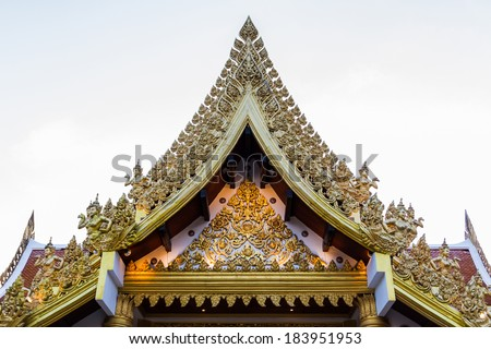 Ancient Thai temple,Thai classic arts Gable,Thailand - stock photo