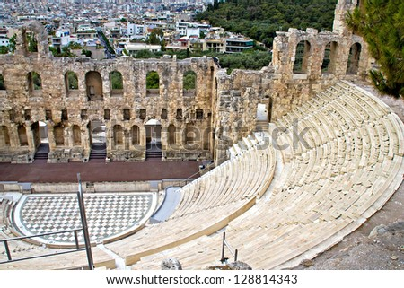 Ancient theater at Acropolis of Athens, Greece - stock photo