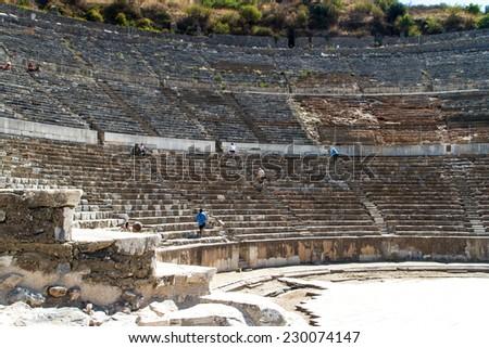 Ancient theatre of Ephesus, Turkey. - stock photo