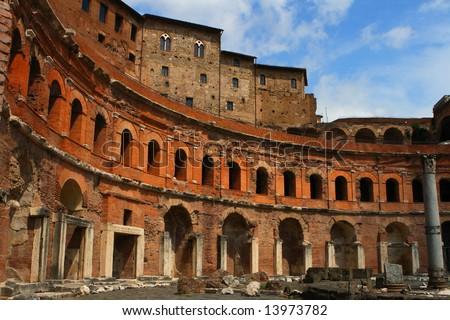 Ancient Trajan's market in Rome - stock photo