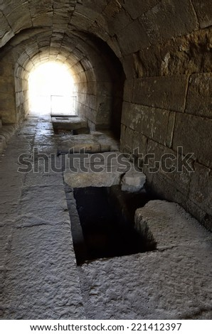 Ancient underground passage in Agrippa palace, Banias National park, Israel. - stock photo