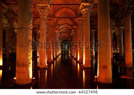 ancient underground water reservoir in Istanbul - stock photo