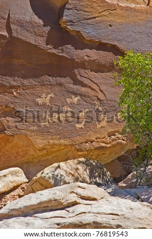Ancient Ute Petroglyphs at Wolfe Ranch in Arches National Park, Utah, USA - stock photo