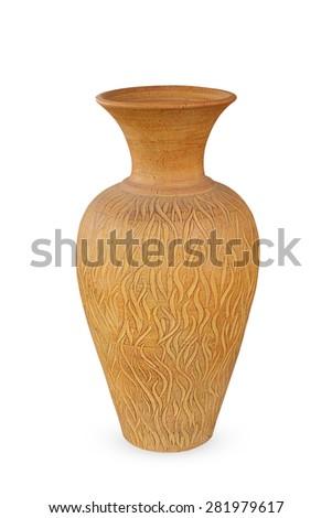 Ancient vase isolated on white background - stock photo