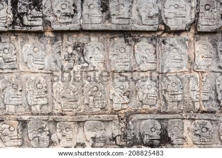 ancient wall in Chichen Itza temple, Mexico. - stock photo