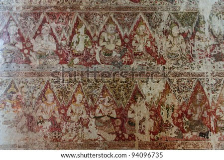 Ancient Wallpaper in old temple in Ayuthaya, Thailand - stock photo