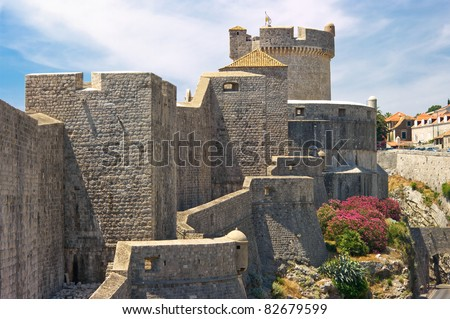Ancient walls of Dubrovnik, Croatia - stock photo