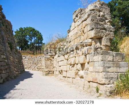 Ancient walls of legendary Troy city, Turkey - stock photo