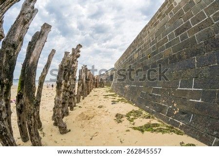 Ancient walls of Saint Malo, Brittany - France. - stock photo
