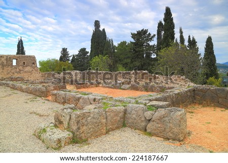Ancient walls of the oracle of the dead at Ephyra, Greece - stock photo