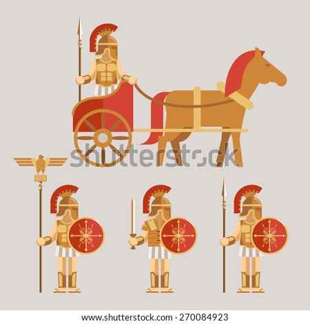 Ancient wariors icons set. Warrior on chariot with spear and warrior with sword and shield - stock photo