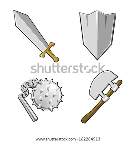 Ancient weapon collection - stock photo