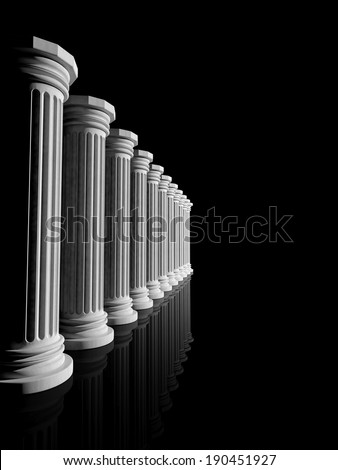 Ancient white marble pillars in a row isolated on black - stock photo