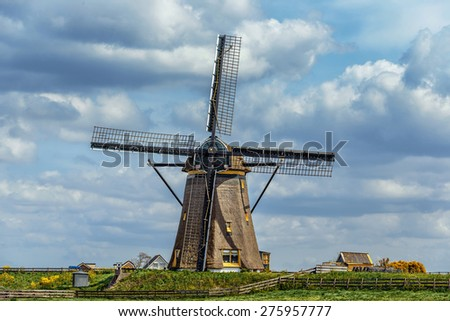 Ancient windmills, Netherlands - stock photo