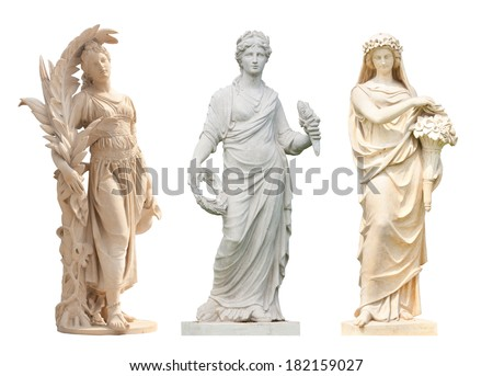 Ancient women statue in the Thai historical park in white background and clipping part - stock photo