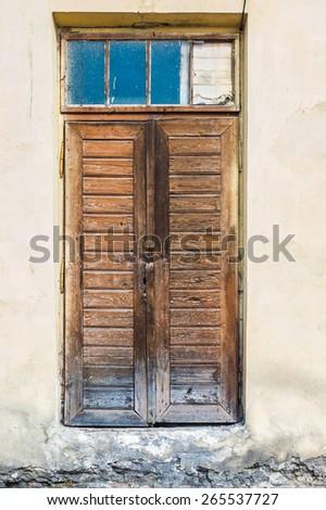 Ancient wooden door, Ukraine , Zhovkva.   - stock photo