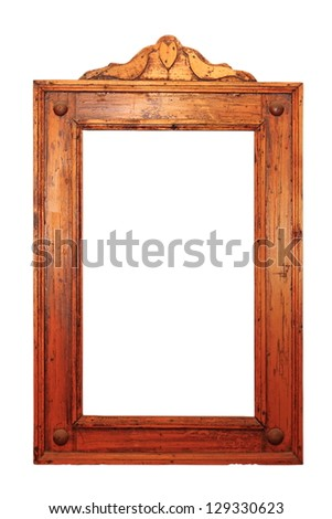 ancient wooden frame for paintings or mirror  isolated over white background - stock photo