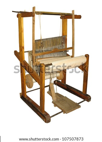 Ancient wooden loom isolated over white background - stock photo