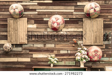 Ancient wooden wall.Sepia - stock photo