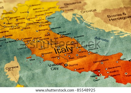 Ancient World Map of Italy - stock photo