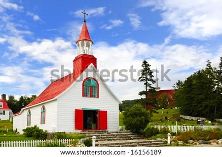 Ancient XVIII century church of Tadoussac, Quebec, Canada - stock photo