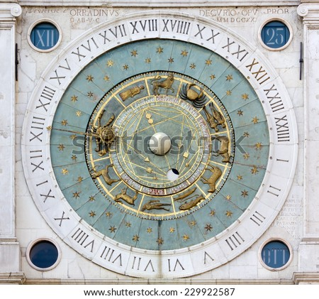 Ancient Zodiacal Astronimical Clock in the Piazza dei Signori in Padua, Italy - stock photo