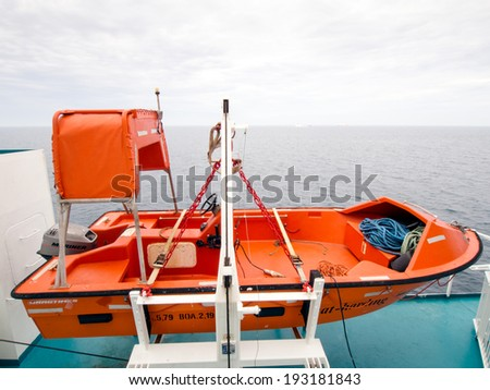 ANCONA,ITALY-MAY 07 2014 :Emergency equipment on a ferry that sails From Italy to Greece - stock photo